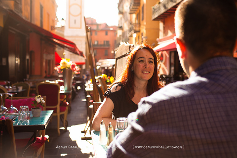 terrace photograph with couple in french riviera