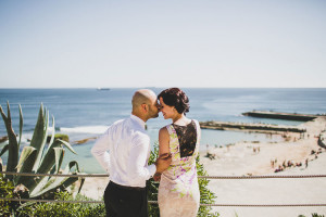 pre wedding session in castle of Forte da Cruz at Tamariz Beach in Estoril, Portugal by wedding planner como branco