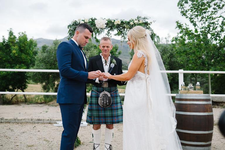 rings exchange in wedding south spain
