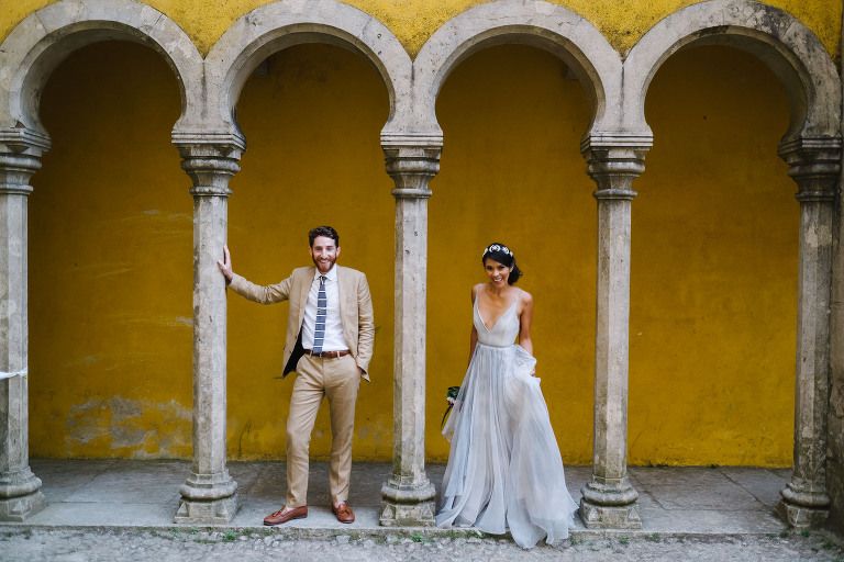 Modern Portugal elopement at colorful Pena Palace #sintraelopement #portugalwedding #lisbonelopement #sintrawedding