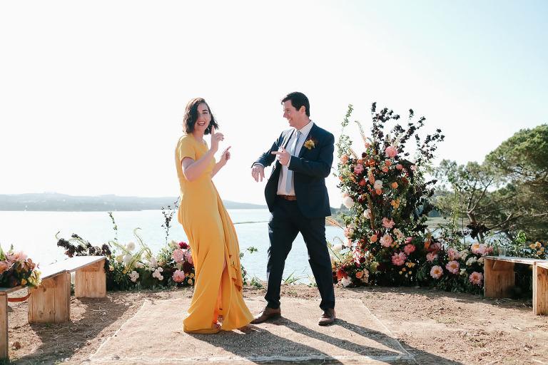 yellow wedding dress by sarah seven perfect for elopement #sarahseven #bridedress #yellowweddingdress #elopement