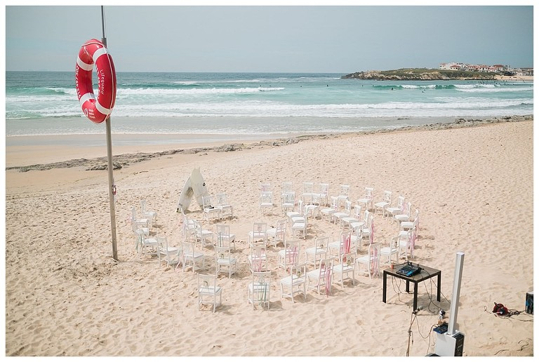 beach setup with chairs at the sand for a surf wedding #surfwedding #beachwedding #chairs #sand